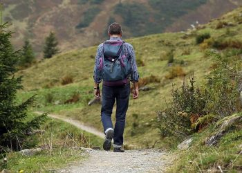 Everyday Man Hiking With Hiking Shoes