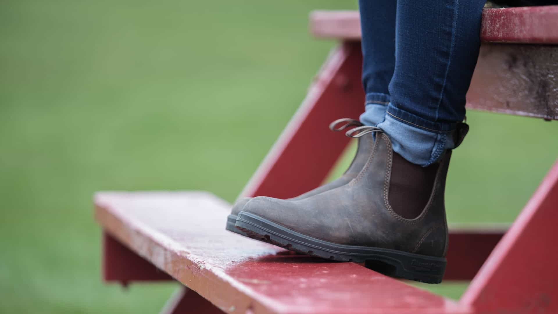 Blundstone on bench